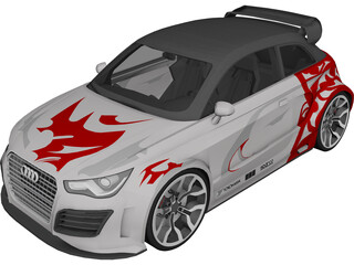 Audi A1 [Tuned] 3D Model 3D Preview