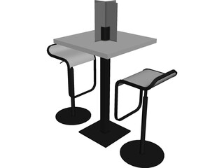 Barstool with Table 3D Model