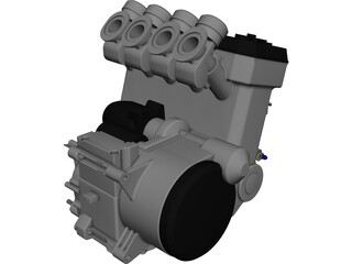Kawasaki Engine and Sump CAD 3D Model