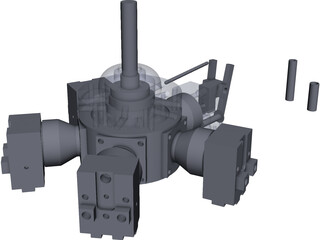 Liney Halo Radial Steam Engine CAD 3D Model