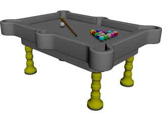 Pool Table CAD 3D Model