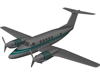 Beechcraft King Air B-200 CAD 3D Model