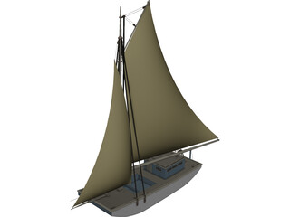 USS Wartappo Civil War Scow 3D Model