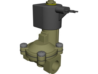 Solenoid Valve with 12V DC Coil CAD 3D Model
