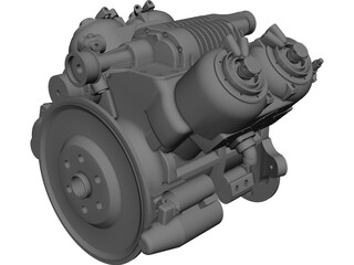 Car V4 Engine CAD 3D Model