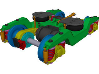 2 Axle Traction Rail Bogie CAD 3D Model