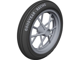 Dragster Front Wheel CAD 3D Model