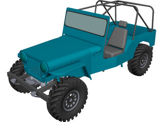 Jeep Willys Long (1945) CAD 3D Model