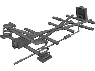 Classic Mercedes Chassis 3D Model