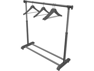 Clothes Rack with Hangers 3D Model