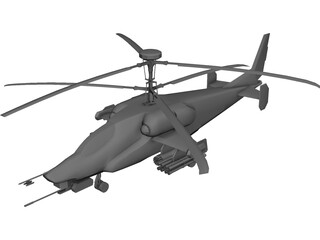 Kamov KA-58 Attack Helicopter 3D Model