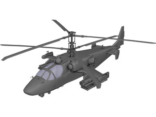 Kamov Ka-52 Attack Helicopter 3D Model