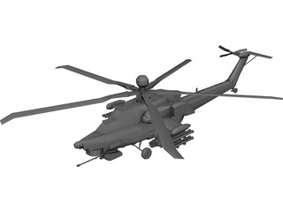 Mil MI-28N Attack Helicopter 3D Model