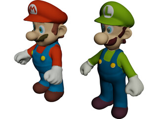 Mario and Luigi Brothers 3D Model