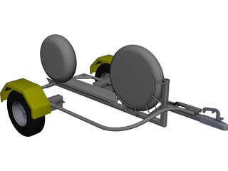Collapsible Motorcycle Trailer CAD 3D Model