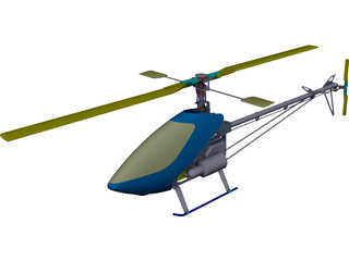 RC Helicopter for 90 engine CAD 3D Model