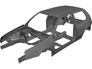 Volkswagen Golf Body CAD 3D Model