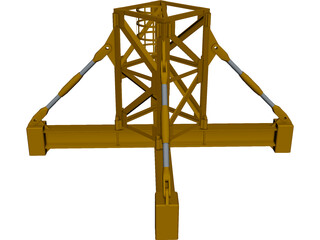 Crane Body Segment Ground Base CAD 3D Model