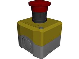 Emergency Stop Button CAD 3D Model