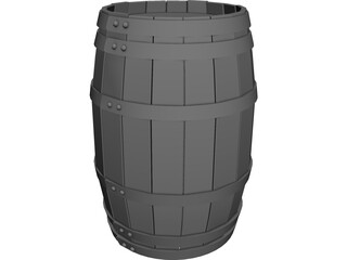 Wooden Barrel with Lids 3D Model
