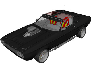 Ford Capri Muscle Car 3D Model