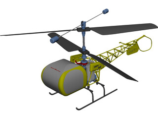 RC Helicopter Bell 47g CAD 3D Model