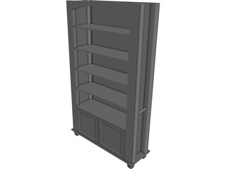 Oak Book Shelf CAD 3D Model