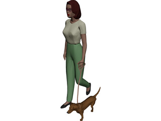 Women walking Dog 3D Model