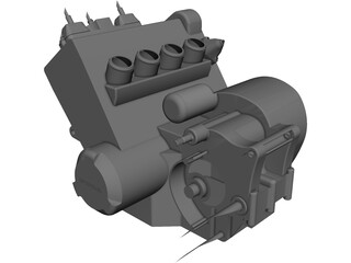 Honda CBR600RR 2003 Engine CAD 3D Model