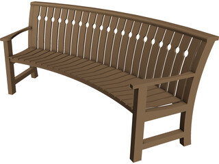 Curved Bench 3D Model 3D Preview