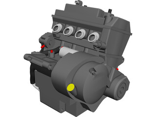 Honda CB600F Engine CAD 3D Model