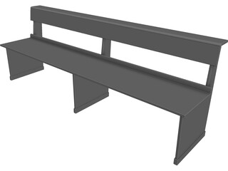 Church Bench Long 3D Model