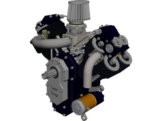 Generic V-Twin Gas Engine Assembly CAD 3D Model