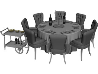 Kitchen Table with Chairs 3D Model