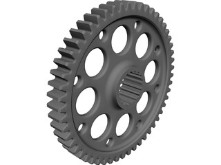 Spur Gear 47 6DP Teeth 27mm Wide CAD 3D Model