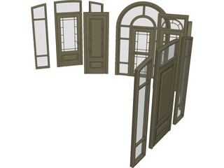 Wood Doors Collection 3D Model