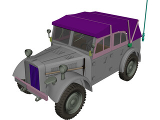 Stoewer Kfz.2 German Army Car 3D Model