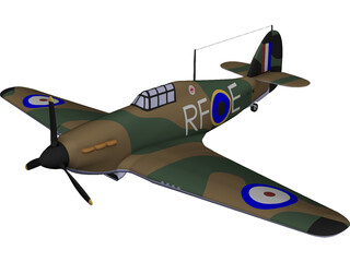 Hawker Hurricane Mk. I CAD 3D Model