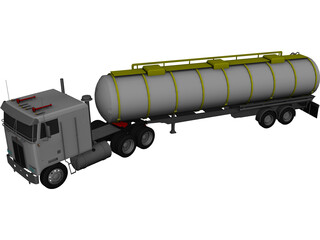 Kenworth K100 Tanker 5-axle 3D Model 3D Preview