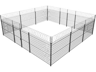 Metallic Fence 3D Model
