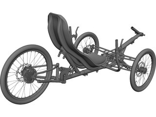 Three Wheel Trike CAD 3D Model