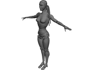 Robot Woman 3D Model 3D Preview
