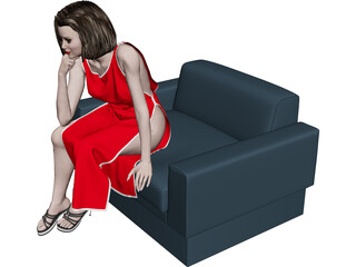 Female Sitting on Chair 3D Model