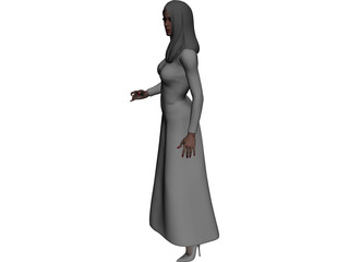 Female Holding Glass 3D Model
