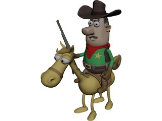 Cowboy with Horse 3D Model