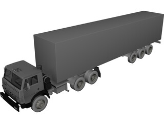 Kamaz with Trailer 3D Model