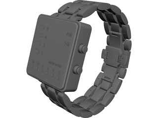 Binary Watch 3D Model 3D Preview