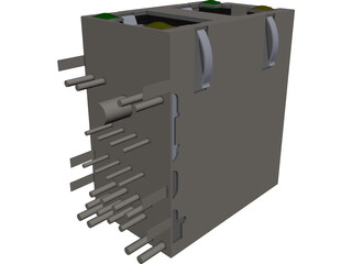RJ45 Double Connector CAD 3D Model