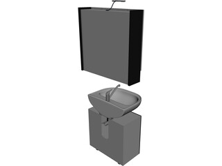 Sink with Mirror 3D Model