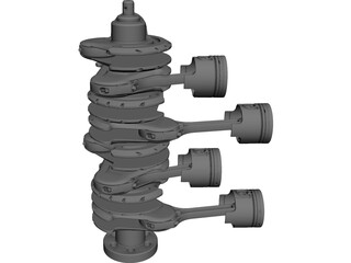 V8 Engine Crankshaft and Pistons CAD 3D Model